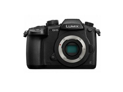 Image of the front of the Panasonic Lumix GH5 4K Mirrorless ILC Camera